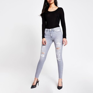 River Island Womens Grey ripped Molly mid rise jeggings