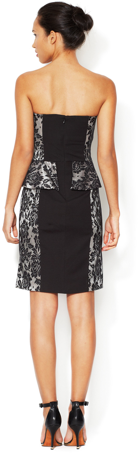 Mark & James by Badgley Mischka Jersey Peplum Dress with Lace Accent