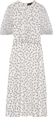 Markus Lupfer Carlie Printed Georgette-paneled Silk Crepe De Chine Midi Dress