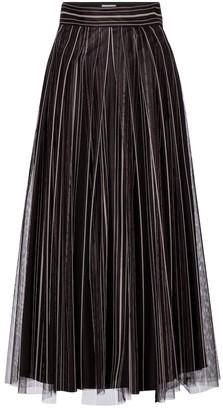 Brunello Cucinelli Striped tulle midi skirt