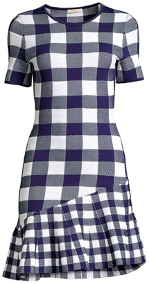 Shoshanna Selia Asymmetrical Gingham-Knit Dress