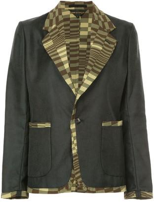 Comme Des Garçons Pre Owned Printed-Panel Slim-Fit Blazer