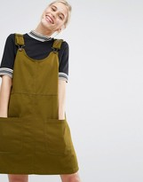 Monki Pocket Front Pinafore Dress