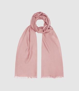 Reiss Iris - Wool Silk Blend Lightweight Scarf in Bright Pink