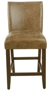 "HomePop 24"" luxury faux leather barstool - Distressed Brown Faux Leather - 24 inches - 24 inches"