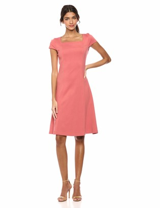 Lark & Ro Amazon Brand Women's Cap Sleeve Square Neck Seamed Fit and Flare Dress