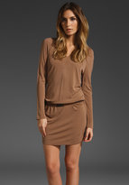 Haute Hippie V Neck Long Sleeve Sweater Dress with Belt