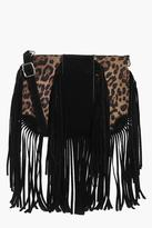 Boohoo Abbie Faux Leopard Fringed Cross Body Bag