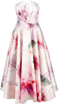 Marchesa Mikado pique tea length dress