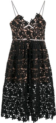 Self-Portrait Embroidered Lace Midi Dress