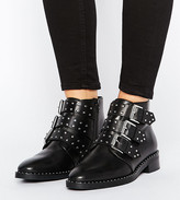 Asos Design ASHER Wide Fit Leather Studded Ankle Boots