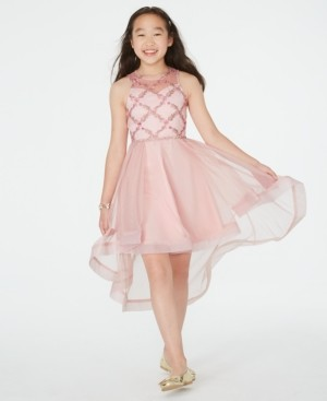 Rare Editions Big Girls Embroidered High-Low Illusion Dress