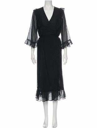 Ganni V-Neck Midi Length Dress Black