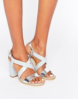 Glamorous Cross Strap Block Heeled Sandals