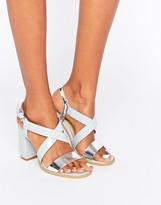 Glamorous Cross Strap Block Heeled Sandals