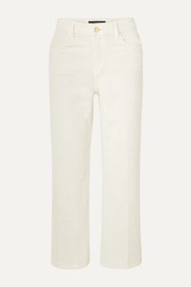 J Brand Joan Cropped Cotton-blend Corduroy Wide-leg Pants - White
