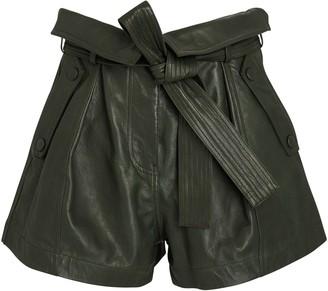 Ulla Johnson Othello Tie-Waist Leather Shorts