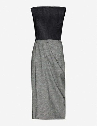 Alexander McQueen Pinstripe and check wool and cashmere-blend midi dress