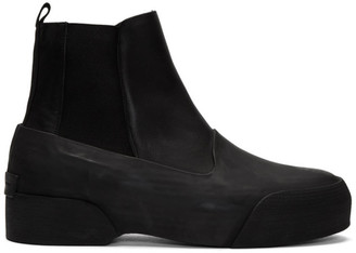 Dries Van Noten Black Leather and Rubber Chelsea Boots