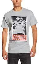 Sesame Street Men's Follow The Cookie Plain Short Sleeve T-Shirt, Grey ()