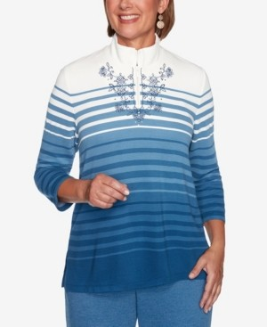 Alfred Dunner Women's Missy Long Weekend Ombre Striped Top
