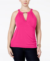 INC International Concepts Plus Size Surplice Halter Top, Only at Macy's