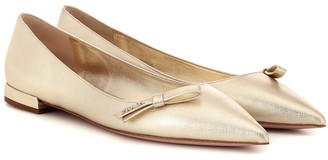Prada Metallic leather ballet flats
