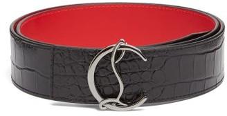 Christian Louboutin Monogram-buckle Crocodile-effect Leather Belt - Black