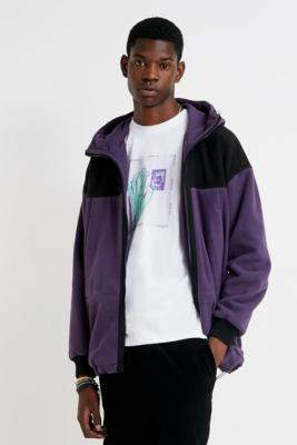 Urban Outfitters Iets Frans... iets frans... Polar Fleece Hooded Track Jacket - purple S at