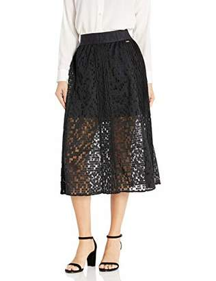 Armani Exchange A|X Women's Geometric Lace Overlay Long A-Line Skirt