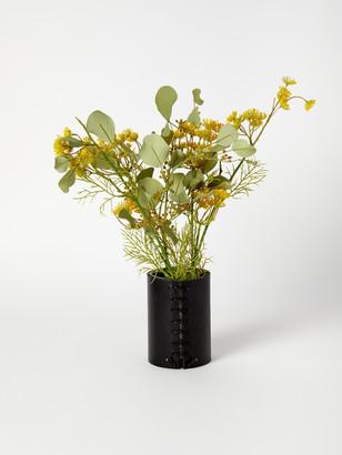 Made Solid Black Bison Leather Wrapped Vase