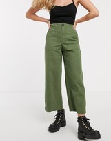 Bershka patched pocket utility pant in green