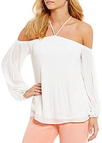Jessica Simpson Anita Halter-Neck Off-The-Shoulder Top