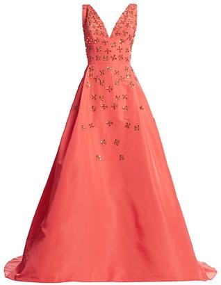 Carolina Herrera V-Neck A-Line Embellished Gown