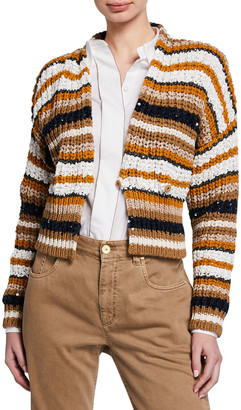 Brunello Cucinelli Paillettes Striped Short Cardigan
