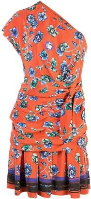 Derek Lam 10 Crosby Belted One Shoulder French Floral Dress