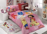 100% Turkish Cotton Ranforce Single/Twin Size Kids Boys Girls Duvet Cover Set, Caillou Bedding Set, Made in Turkey (2, Caillou and Sarah)
