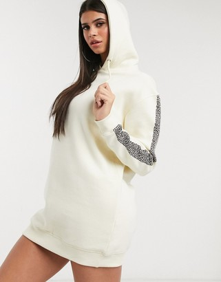 Daisy Street hoody dress with contrast leopard print tape