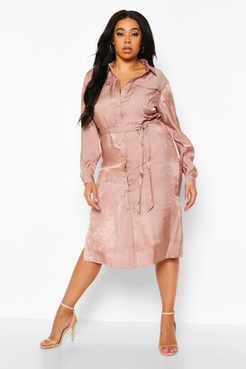 boohoo Plus Metallic Shirt Midi Dress