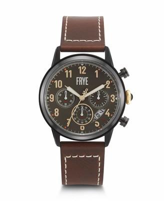 Frye Men's Graham Stainless Steel Japanese Quartz Leather Strap Brown 24 Casual Watch (Model: 37FR00009-01)