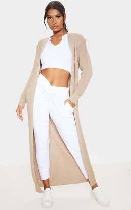 PrettyLittleThing Stone Maxi Knitted Cardigan