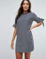 Asos T-Shirt Dress in Stripe with Bow Sleeve