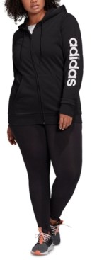 adidas Plus Size Logo-Print Zip-Up Hoodie