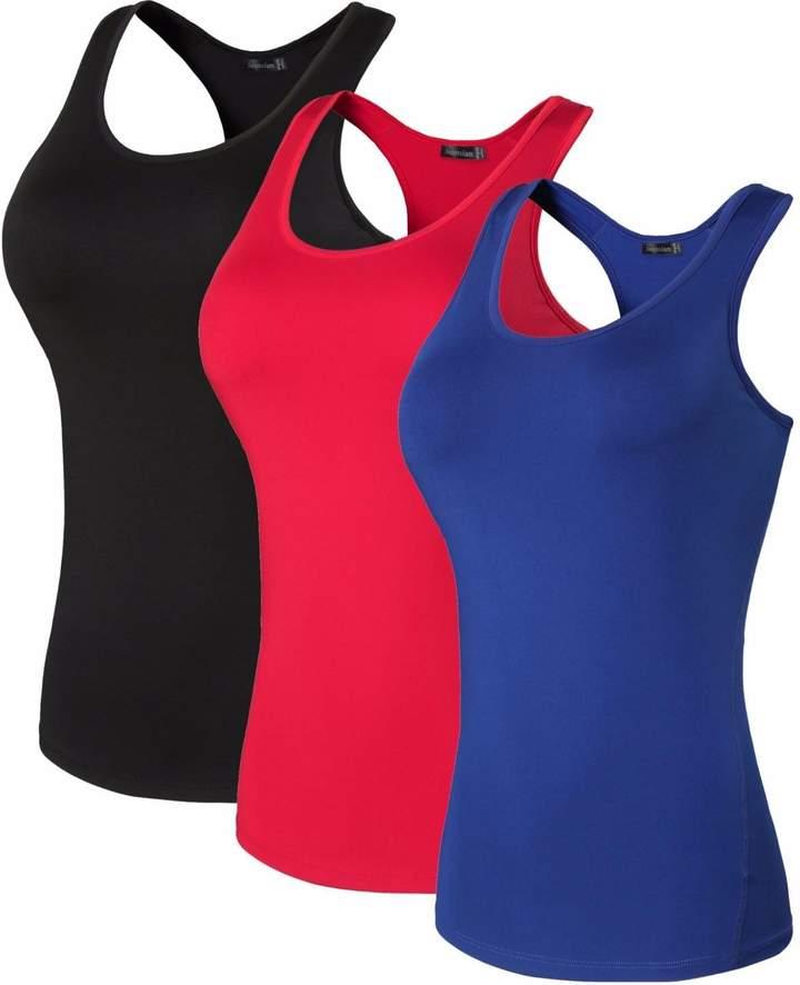 jeansian Women's 3 Packs Quick Dry Compression Tank Top Vest SMF002 PackC L