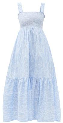 Heidi Klein Cape Verde Smocked Feather-print Cotton Maxi Dress - Blue Print