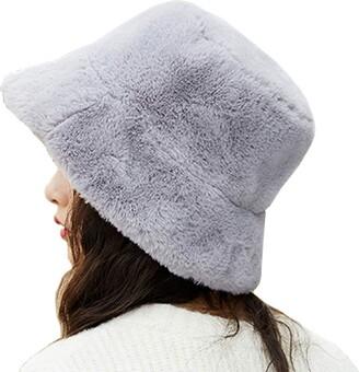 LLZ.COQUE Womens Stylish Bucket Hat Soft Faux Fur Fluffy Thicken Wide Brim Lovely Winter Warm Hat for Girls - Grey