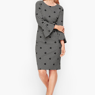 Talbots Dot Houndstooth Flare Sleeve Sheath dress