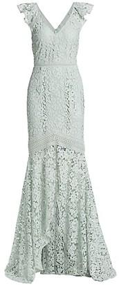 ML Monique Lhuillier Lace Cutaway Gown