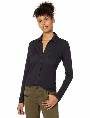 Majestic Filatures Women's Cotton/Cashmere Long Sleeve Button Down