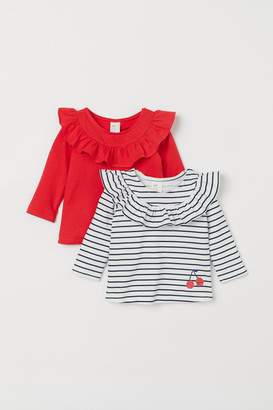 H&M 2-pack Ruffled Jersey Tops - Red